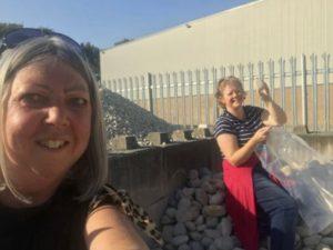 Debbie and Nicola picking stones