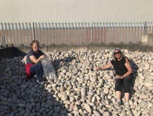 Nicola and Debbie collecting stones
