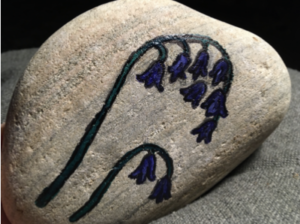Bluebells painted on stone