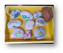 stones in a plastic box