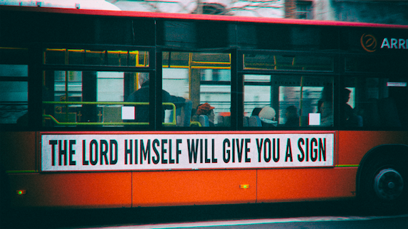 Bus showing sign