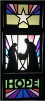 stain glass of nativity