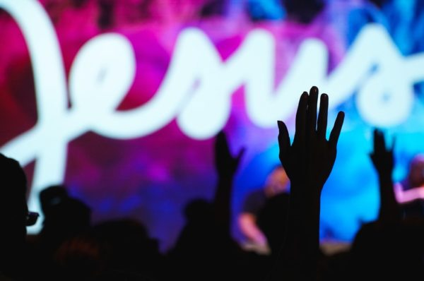 Raised hands in worship