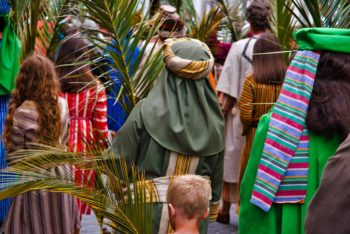 Palm Sunday with palm branches