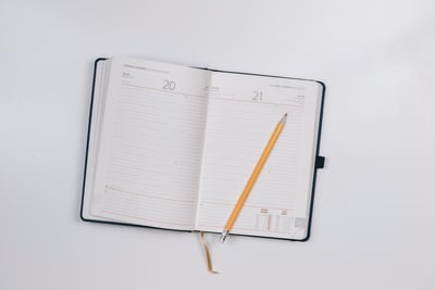 open diary with pencil