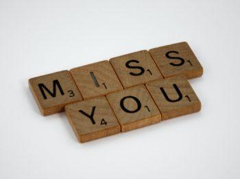 Scrabble letters Miss You