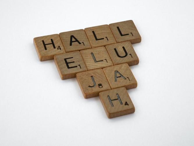 Scrabble tiles spelling Hallelujah