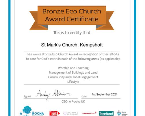 Bronze Award for Eco Church
